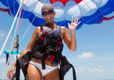 female parasail rider