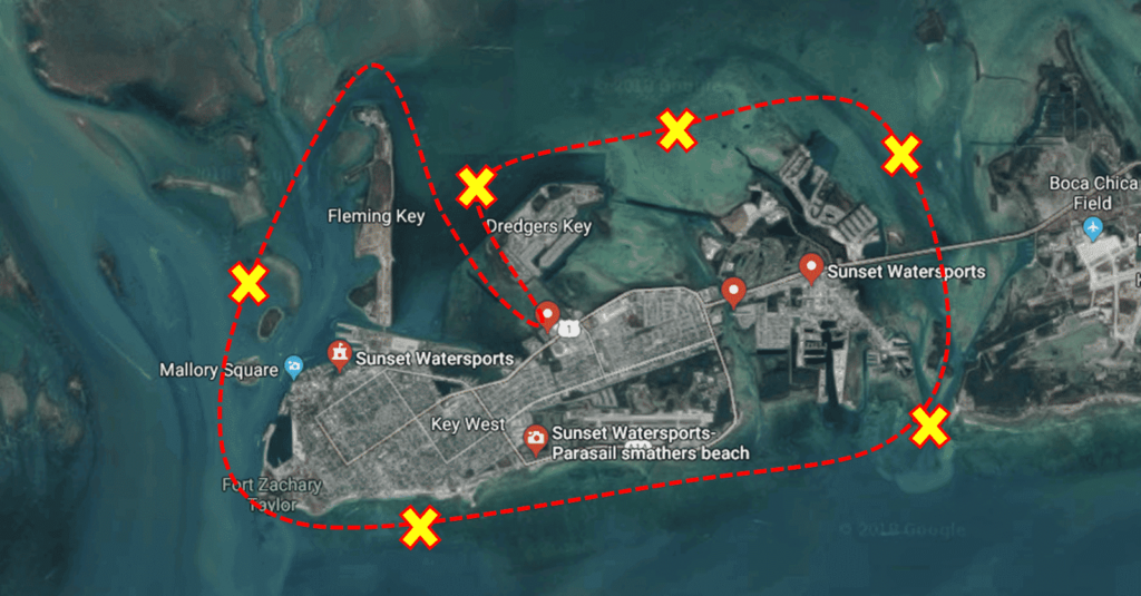 key west jetski tour map